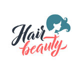 Salon de coiffure Logo Beauty Vector Lettering Calligraphie faite main faite sur commande illustation de vecteur Photographie stock libre de droits