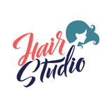 Salon de coiffure Logo Beauty Vector Lettering Calligraphie faite main faite sur commande illustation de vecteur Photographie stock