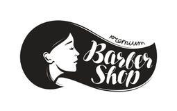 Salon de coiffure, logo ou label Salon de beauté, conception typographique de coiffeur Illustration de vecteur de lettrage illustration stock