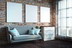 Salon de grenier avec des bannières photo stock
