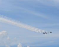 Salon de l'aéronautique de Thunderbirds de l'Armée de l'Air - quatre avions Photographie stock libre de droits