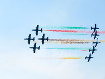 Salon de l'aéronautique tricolore de flèches Tirrenia, Pise, Italie, le 11 septembre Photos libres de droits