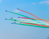 Salon de l'aéronautique tricolore de flèches Tirrenia, Pise, Italie, le 11 septembre, 2 Photographie stock libre de droits