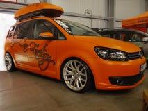 Salon de l'Auto de message publicitaire de trajet en voiture de Volkswagen Photos stock