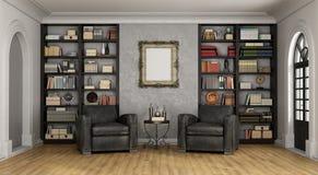 Salon de luxe avec la grands bibliothèque et fauteuils illustration stock