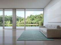 Salon de maison de luxe avec la vue de lac dans la conception moderne, maison de vacances pour la famille Photo stock