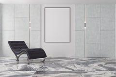 Salon de Minimalistic, fauteuil noir, affiche Photo libre de droits