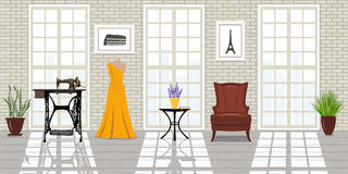 Salon de mode, lieu de travail de tailleur Studio de Vogue Images stock