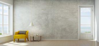 Salon de vue de mer avec le mur en béton dans la maison de plage moderne, intérieur de luxe de maison d'été Image stock