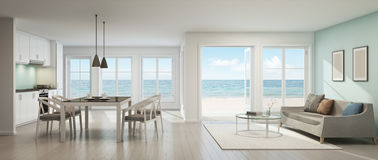 Salon de vue de mer, salle à manger et cuisine, maison de plage illustration libre de droits
