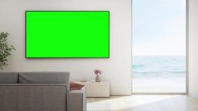 Salon de vue de mer de maison de plage de luxe avec le vitrail et le plancher en bois banque de vidéos