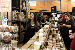 Salon du chocolat 2015. Lyon, France. November 8, 2015. Details of the fifth edition of the salon du chocolat in Lyon. Many chocolatiers, chefs, pastry chefs and Royalty Free Stock Images