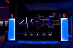 Salon du cinéma 4DX au mail méga Photos libres de droits