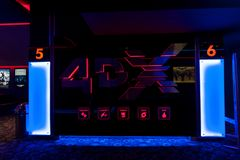 Salon du cinéma 4DX au mail méga Photo stock