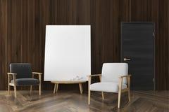 Salon en bois foncé, deux fauteuils, affiche Image libre de droits