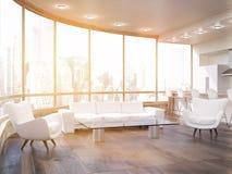 Salon ensoleillé confortable avec le sofa et les fauteuils Photo libre de droits