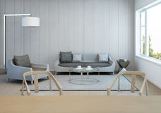 Salon et salle à manger dans la maison moderne avec le mur en bois blanc Photographie stock