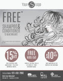 Salon flyer template design. Salon flyer template with discount coupons and advertisement showing beautiful woman with long hair in black and white Stock Image