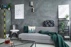 Salon gris avec le divan images libres de droits