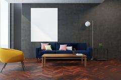 Salon gris, fauteuil jaune Photographie stock libre de droits