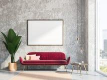 Salon gris intérieur, sofa rouge, affiche Photos libres de droits