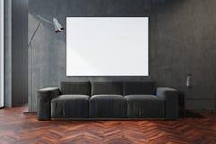 Salon gris, sofa gris et affiche Photographie stock libre de droits