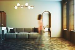 Salon gris, sofa gris, tache floue de femme Photographie stock libre de droits