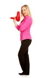 Salon: Hairdresser Stands With Blow Dryer Royalty Free Stock Images