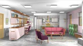 Salon industriel, rustique, moderne avec le bureau et cuisine ouverte Photo stock