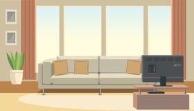 Salon intérieur avec le sofa et le vecteur plat de TV illustration stock