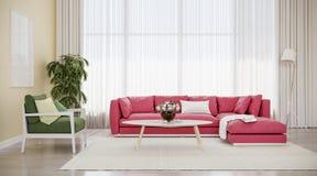 Salon intérieur de conception moderne, sofa rouge avec la chaise verte photo stock