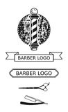 Salon Logo Elements de raseur-coiffeur Images libres de droits