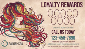 Salon Loyalty rewards card template. Salon customer loyalty card showing beautiful woman with long colorful hair royalty free illustration