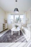 Salon lumineux avec le tapis foncé Images libres de droits