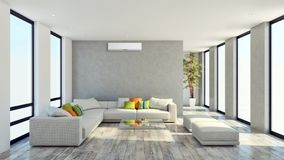Salon lumineux moderne d'appartement d'intérieurs avec l'état d'air illustration libre de droits