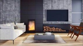 Salon lumineux moderne d'appartement d'intérieurs avec l'illustration de rendu du sofa 3D banque de vidéos