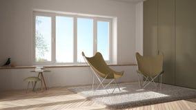 Salon minimal blanc et jaune avec le tapis de fauteuil, le plancher de parquet et la fenêtre panoramique, architecture scandinave illustration stock
