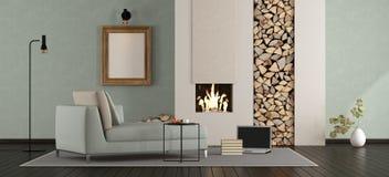 Salon minimaliste avec la cheminée Image libre de droits