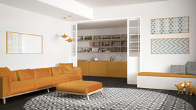 Salon minimaliste avec le sofa, le grand tapis rond et la cuisine dans la conception intérieure moderne de fond, grise et jaune image libre de droits