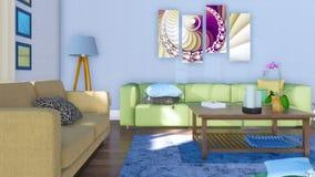 Salon minimaliste moderne intérieur à la journée illustration de vecteur