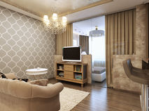 Salon moderne élégant et luxueux Photographie stock