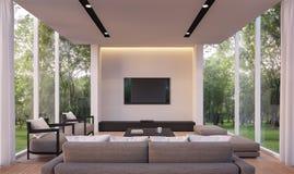 Salon moderne avec l'image de rendu de la vue 3d de jardin Photos stock