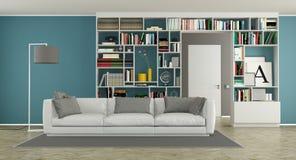 Salon moderne avec la bibliothèque Photos libres de droits