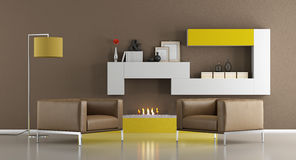 Salon moderne avec la bio cheminée d'éthanol Photo libre de droits
