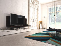 Salon moderne avec la TV et la chaîne hi-fi 3d Photo stock