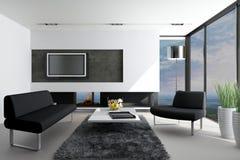 Salon moderne avec la vue de paysage Photo libre de droits