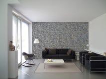 Int rieur moderne de salon avec le mur en pierre noir - Mur en pierre salon ...