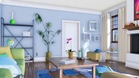 Salon moderne avec le panorama brûlant de cheminée illustration stock