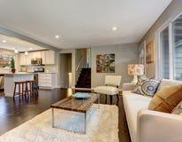 Salon moderne avec le plancher en bois dur foncé photos stock