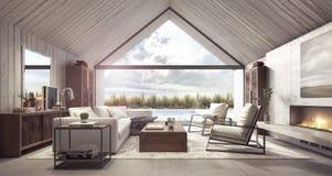Salon moderne avec le regard sur l'arrière-cour avec la piscine et le jardin illustration de vecteur